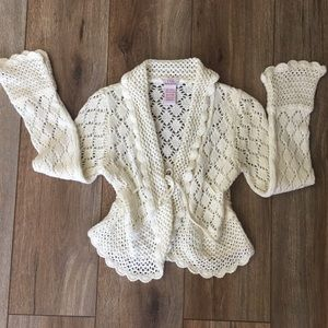 YES Soft Crocheted Cream Sweater